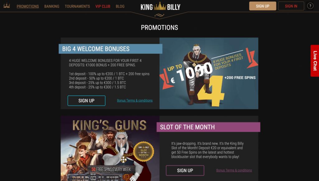 king billy bonuss